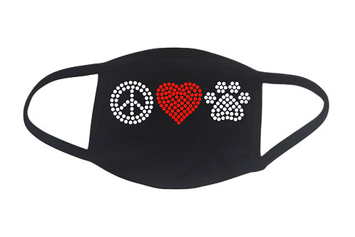 RHINESTONE Peace Love Animals face mask - bling dogs cats pets shelter rescue