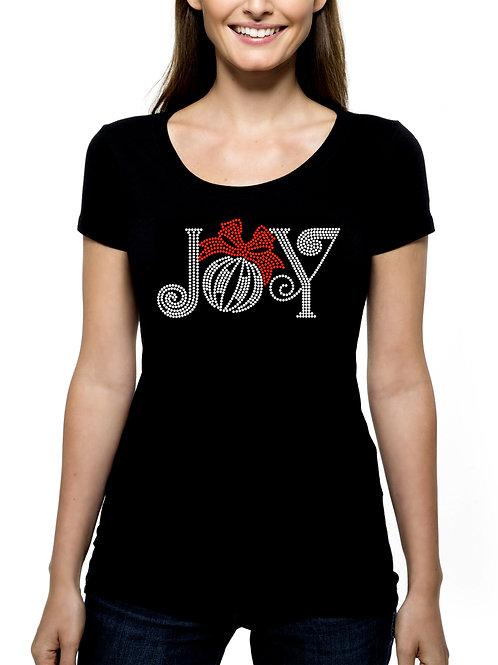 Joy RHINESTONE T-Shirt or Tank Top - BLING Christmas Ornament Ribbon