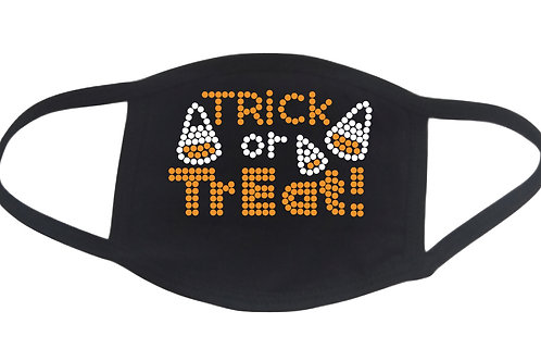 RHINESTONE Trick or Treat Halloween face mask - bling scary boo scare spooky