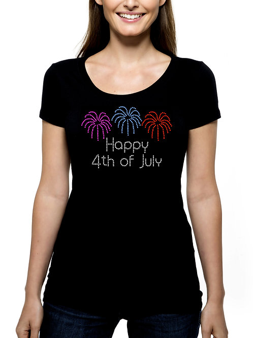 Happy 4th of July Fireworks RHINESTONE T-Shirt or Tank Top - BLING Independence