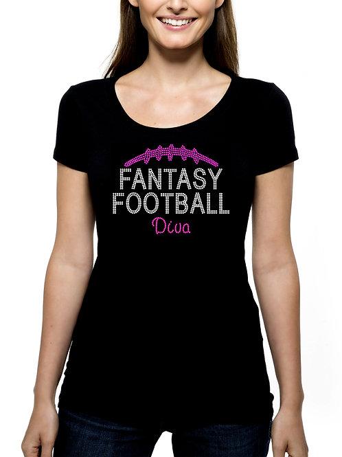 Fantasy Football Diva RHINESTONE T-Shirt or Tank BLING Sports NFL Draft
