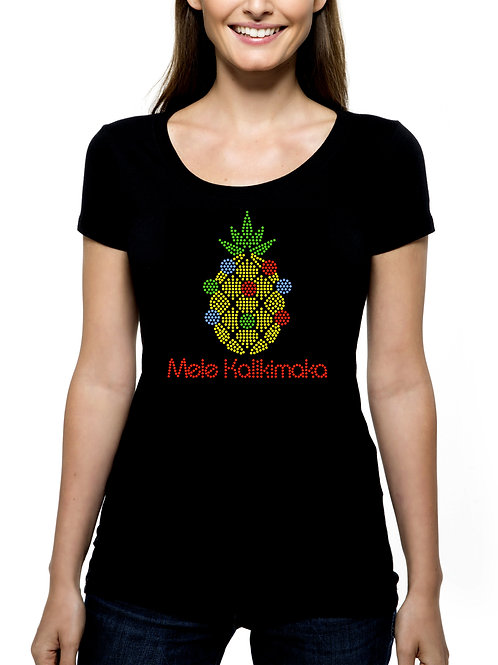 Mele Kalikimaka RHINESTONE T-Shirt or Tank Top BLING Christmas Pineapple Hawaii