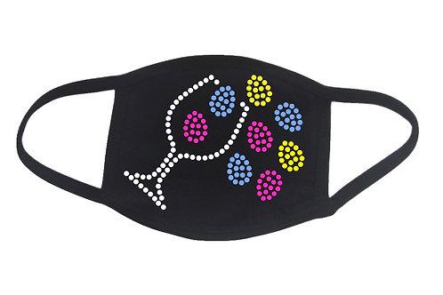 RHINESTONE Wine Spilling Easter Eggs face mask cover - bling holiday glass vino