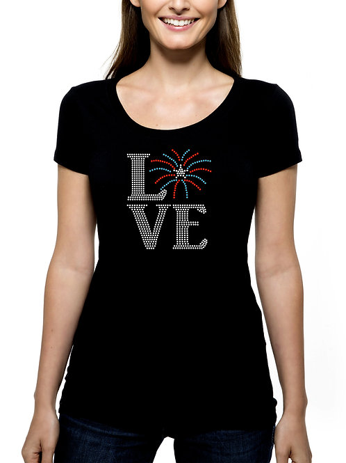 Love Fireworks RHINESTONE T-Shirt or Tank Top - BLING Independence Day 4th July