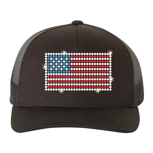 RHINESTONE Hat - USA Flag - bling trucker snapback United State America patriot