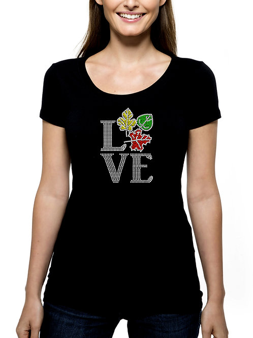 Love Fall RHINESTONE T-Shirt or Tank Top BLING Autumn Leaves Color Tour Colors