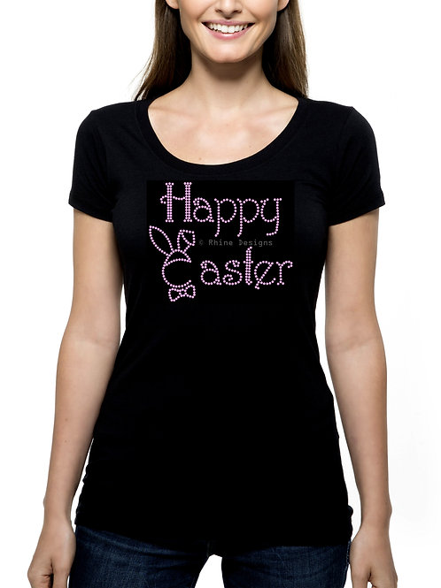 Happy Easter Bunny Rabbit Outline RHINESTONE T-Shirt or Tank Top - BLING