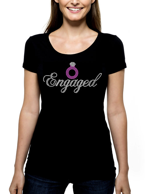 Engaged RHINESTONE T-Shirt or Tank Top - BLING Bride Wedding Marriage Ring