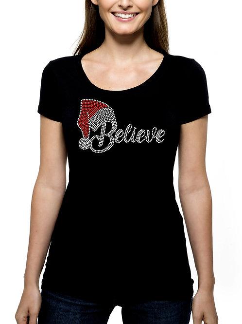 Believe Santa Hat RHINESTONE T-Shirt or Tank Top - BLING Christmas Holiday Santa