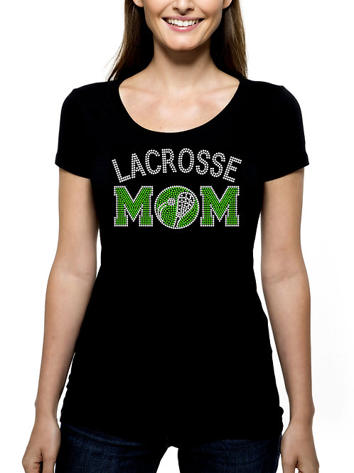 Lacrosse Mom RHINESTONE T-Shirt or Tank Top - BLING Sport Mother Ball Stick