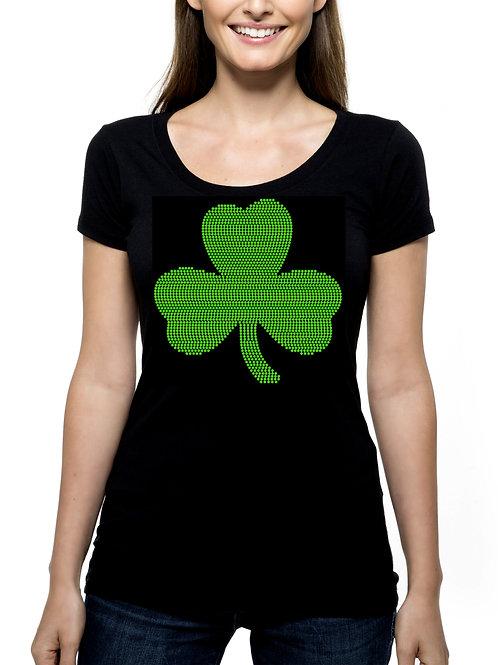 Large Shamrock RHINESTONE T-Shirt or Tank Top - BLING St Patrick's Day Irish