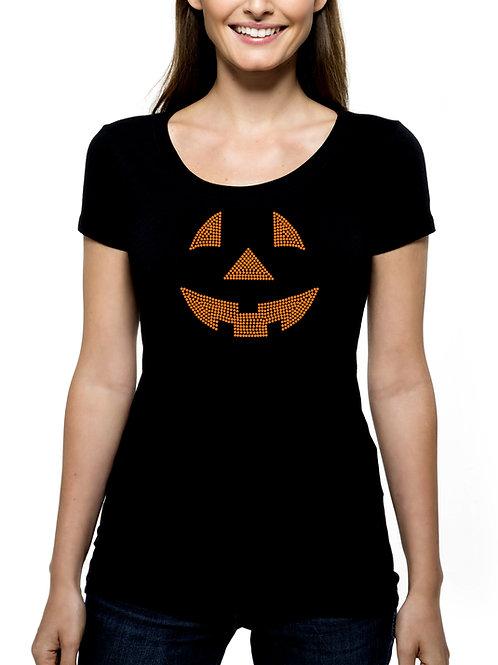 Jack-o-Lantern Face RHINESTONE T-Shirt or Tank Top - BLING Halloween Pumpkin