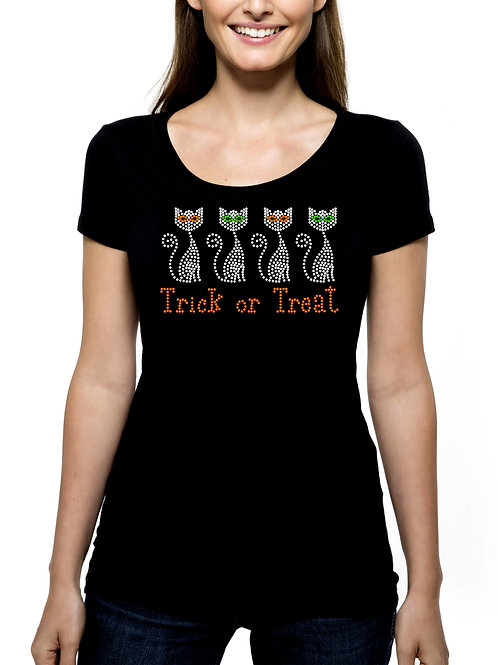 Cats Trick or Treat RHINESTONE T-Shirt or Tank Top - BLING Halloween Kitties