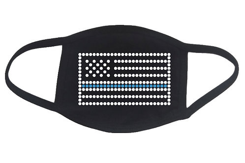 RHINESTONE Thin Blue Line Flag face mask cover - bling police policeman woman