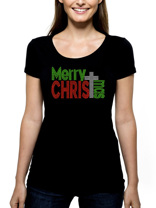 Merry Christmas Cross RHINESTONE T-Shirt or Tank Top BLING Jesus Religious