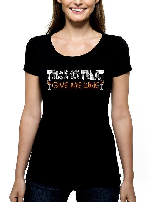 Trick or Treat Give Me Wine RHINESTONE T-Shirt Tank Top - BLING Halloween Drink