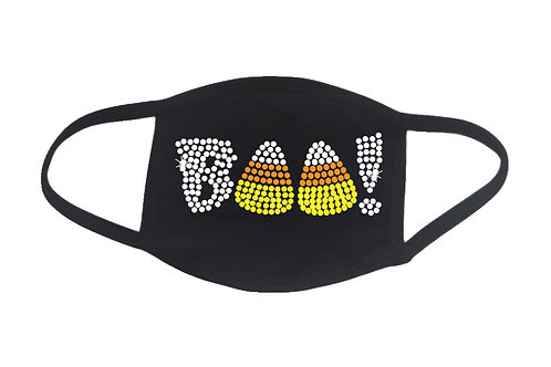 RHINESTONE Halloween BOO face mask - bling spooky scary candy corn ghost candy