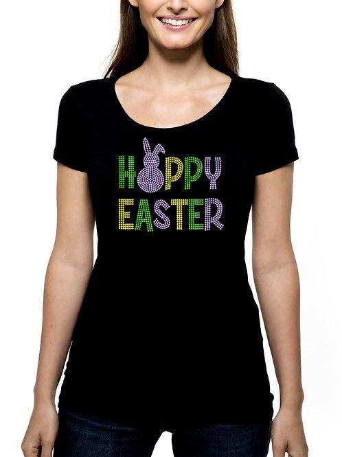 Happy Hoppy Easter RHINESTONE T-Shirt or Tank Top - BLING Bunny Rabbit
