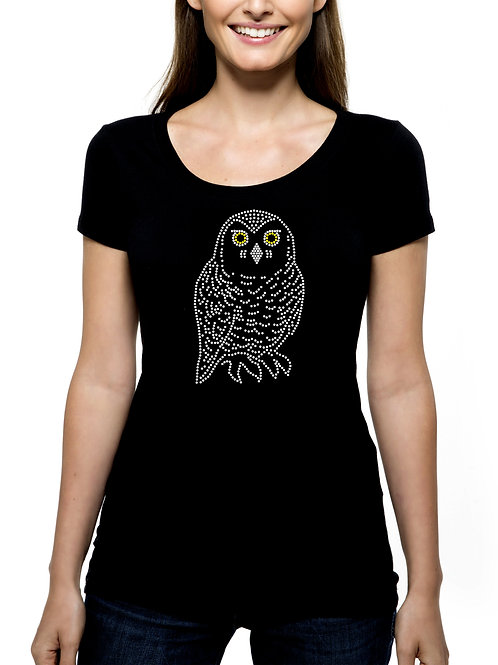 Snowy Owl RHINESTONE T-Shirt or Tank Top - BLING Bird Prey Raptor Preditor