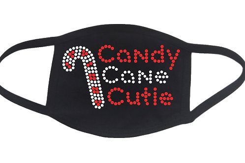 RHINESTONE Candy Cane Cutie face mask - bling Christmas Xmas X-mas