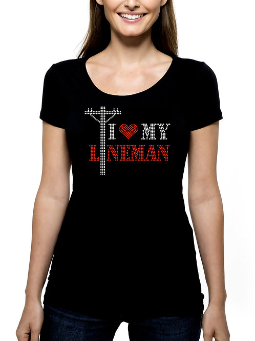 I Heart My Lineman RHINESTONE T-Shirt or Tank Top - BLING Journeyman Power Love