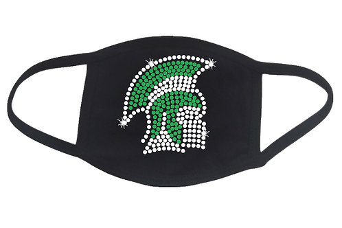RHINESTONE Spartan face mask - bling Sparty sports mascot school college