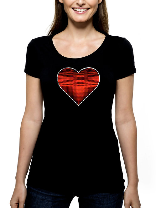 Heart RHINESTONE T-Shirt or Tank Top - BLING Valentine's Day Love Amore