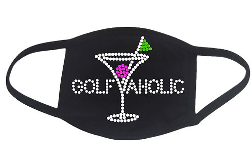 RHINESTONE Golfaholic Mom face mask - bling sports golf golfer martini league