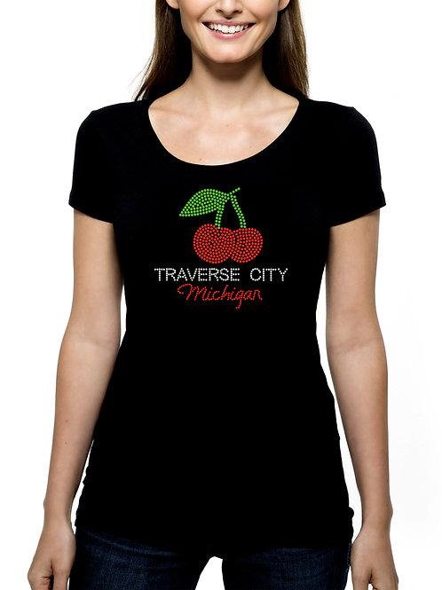Traverse City Michigan RHINESTONE T-Shirt or Tank BLING Cherries Cherry Festival