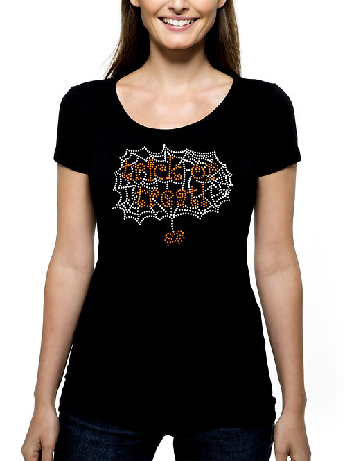 Trick or Treat Spider Web RHINESTONE T-Shirt Tank Top - BLING Halloween Spooky