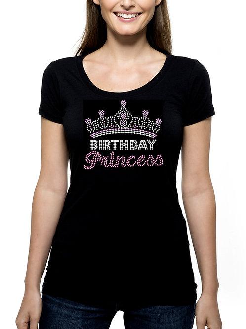 Birthday Princess Crown RHINESTONE T-Shirt or Tank Top - BLING Tiara Celebrate