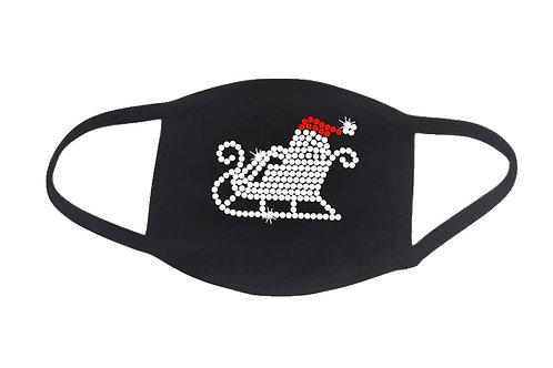 RHINESTONE Santa's Sleigh face mask - bling Christmas Xmas X-mas Eve