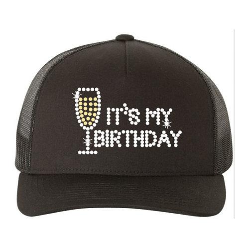 RHINESTONE Hat - It's My Birthday Champagne - bling trucker snapback drinks fun