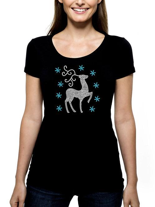 Deer and Snow RHINESTONE T-Shirt or Tank Top - BLING Animal Reindeer Winter