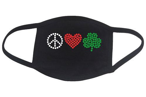 RHINESTONE Peace Love Shamrock face mask cover - St Patrick's Day clover Irish