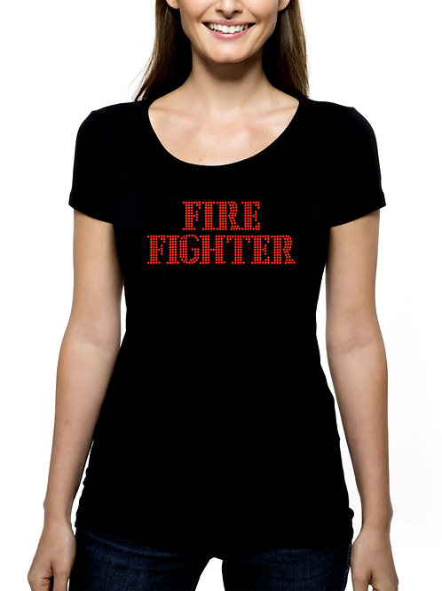 Fire Fighter RHINESTONE T-Shirt or Tank Top - BLING Department Rescue Worker