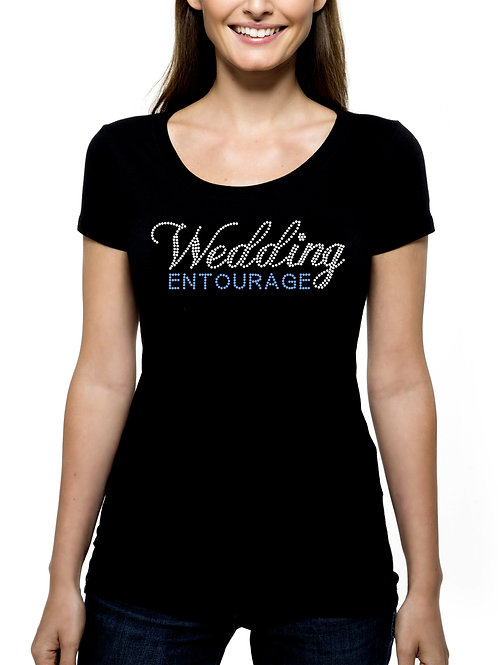 Wedding Entourage RHINESTONE T-Shirt or Tank Top - BLING 2 Fonts Bridal Marriage