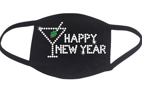 RHINESTONE Happy New Year Martini Glass face mask cover - bling NY Eve holiday
