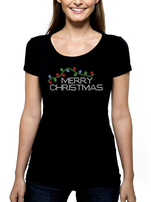 Merry Christmas Lights RHINESTONE T-Shirt or Tank Top BLING Decoration Xmas
