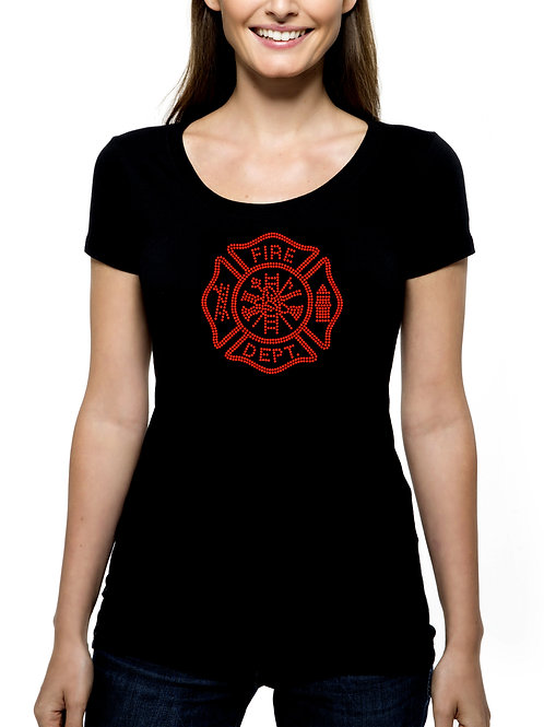 Fire Department Seal RHINESTONE T-Shirt or Tank Top - BLING Worker Fighter
