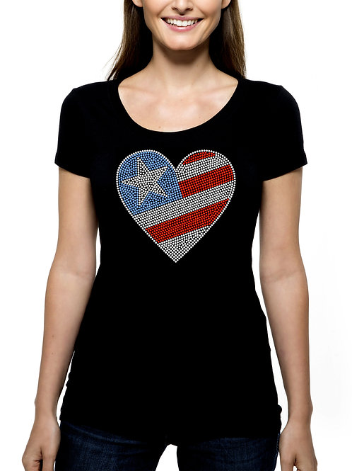 American Flag Star Heart RHINESTONE T-Shirt or Tank Top - BLING Independence Day