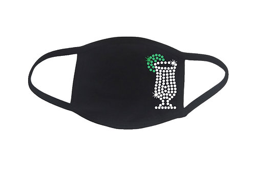 RHINESTONE Vodka Soda face mask cover - bling glass drink Gin Tonic cocktail