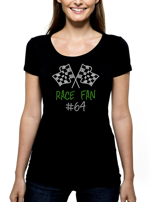 Race Fan RHINESTONE T-Shirt or Tank Top - BLING Sport Racing Flags