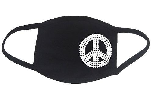 RHINESTONE Peace Sign face mask - bling calm order - Pick Rhinestone Color