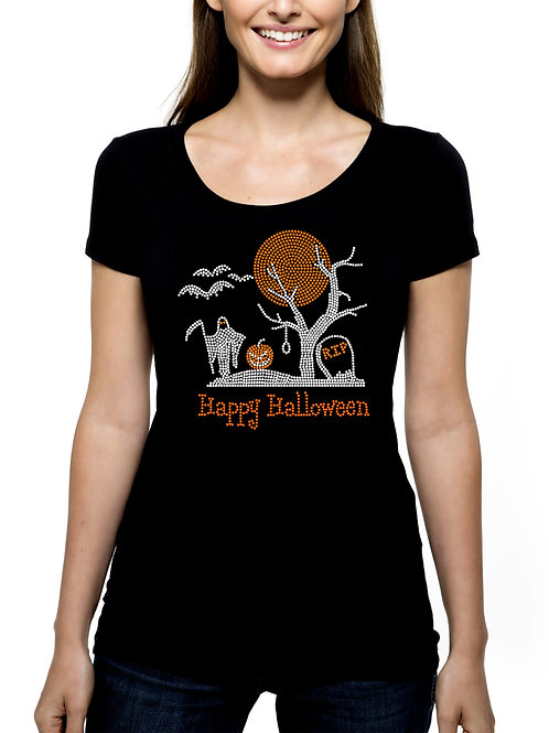 Halloween Graveyard with Moon RHINESTONE T-Shirt or Tank Top - BLING Grim Reaper