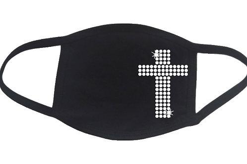 RHINESTONE Cross face mask - bling religion Jesus faith - Pick Rhinestone Color
