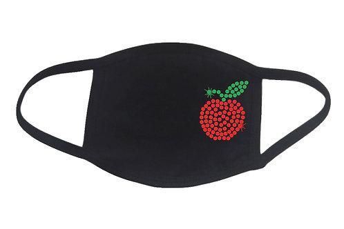 RHINESTONE Apple face mask cover - bling soft fruit teacher NYC New York fun