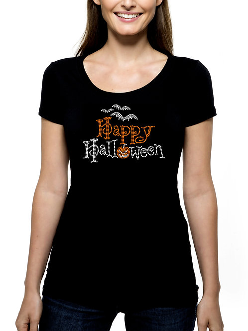 Happy Halloween RHINESTONE T-Shirt Tank Top - BLING Bats Jack-o-Lantern Pumpkin