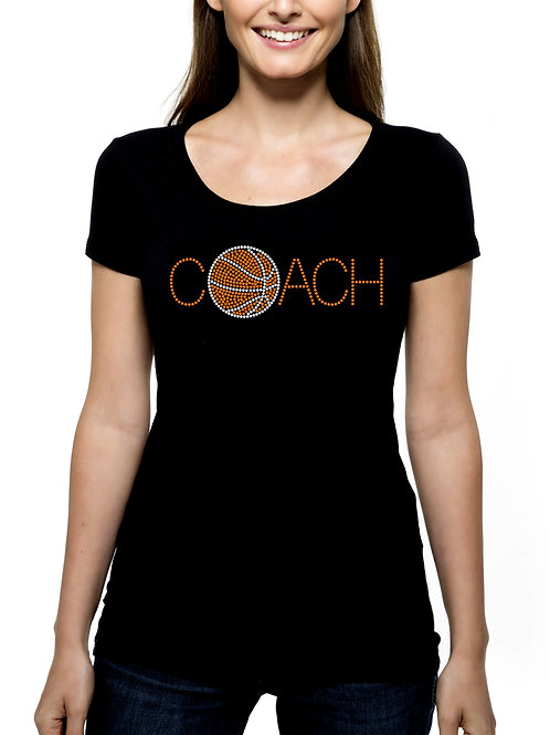 Basketball Coach RHINESTONE T-Shirt or Tank Top BLING Sports Team Leader