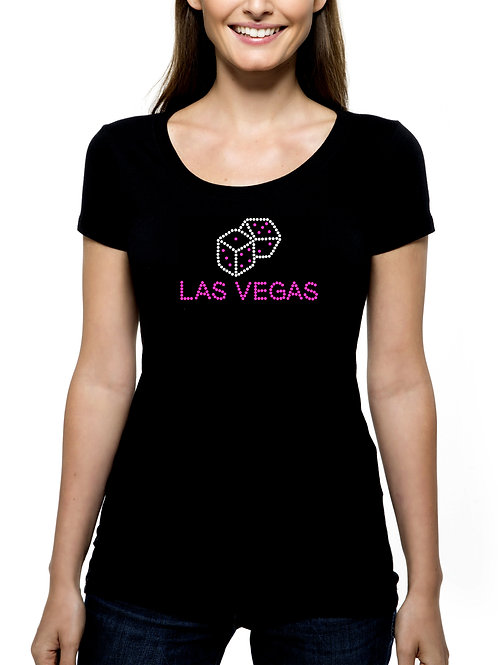 Las Vegas Dice RHINESTONE T-Shirt or Tank - BLING Nevada Casinos Gambling Trip